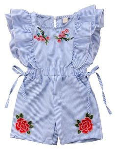 Baby girl Floral Ruffled Romper - Baby girl Floral Ruffled Romper Your todler girl will surely love the ruffles and embroidered floral details of this romper! Check it out today Little Girl Outfits, Little Girl Fashion, Little Girl Dresses, Toddler Fashion, Toddler Outfits, Kids Outfits, Kids Fashion, Toddler Girls, Fashion Clothes