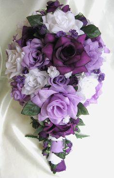 Wedding bouquet Bridal Silk flowers Cascade Plum PURPLE LAVENDER WHITE Decorations Bridesmaids boutonnieres Corsages 21 pc package. $199.99, via Etsy.