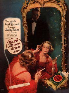 Don't listen! The cigarette is lying!    Lucky Strike 1935