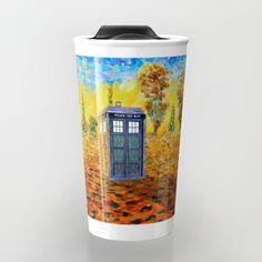 Phone box at Fall Grass field Art painting Travel mug #Travelmugs #tardis #doctorwho #painting #art #starrynight #autumn #fullcolour #FallGrass