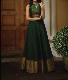 RadhikAnurag ❤️ Reuse Ur old sarees Lehenga Choli Designs, Salwar Designs, Kurti Designs Party Wear, Silk Dress Design, Long Dress Design, Dress Neck Designs, Designs For Dresses, Blouse Designs, Indian Gowns Dresses