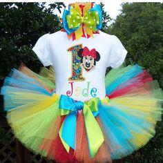 Primary Rainbow Minnie Mouse Birthday Tutu Outfit