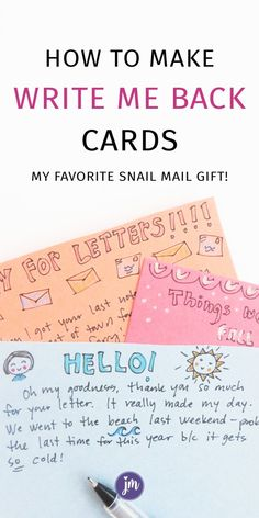 Happy Mail Flip Card Pen Pal Fold Out Handmade Card Snail Mail Greeting Card Miss You Card with book tags Thinking of you