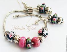 Купить Браслет евро шарм с серёжками Цветочный розочки 205 - розовый, комплект украшений