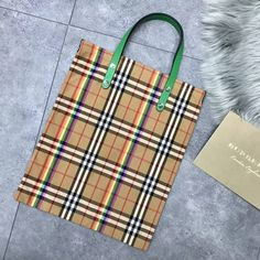 Burberry Small Shopping Tote in Rainbow Vintage Canvas and Green Leather 2018
