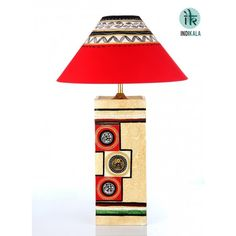 Wood Crafted lamp with Cream Shade  At www.indikala.com