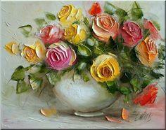 Roses by Ewa Bartosik💗 Texture Art, Texture Painting, Art Floral, Flower Canvas, Flower Art, Rose Oil Painting, Still Life Flowers, Seascape Art, Acrylic Flowers