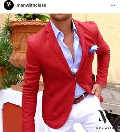 Red blazer outfit with white jeans for men Blazer Outfits Men, Mens Fashion Blazer, Suit Fashion, Fashion Outfits, Fall Fashion, Casual Outfits, Moda Formal, Designer Suits For Men, Well Dressed Men
