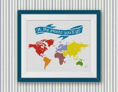 BOGO FREE World Map Dr Seuss Cross Stitch Pattern by StitchLine