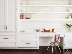 Contemporary White Study with Patterned Wallpaper | LuxeSource | Luxe Magazine - The Luxury Home Redefined