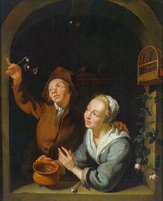 A Young Couple Making Soap Bubbles by Louis de Moni. Detail: smoking pipe, bird cage, clay pot, bubbles. Louis de Moni (1698–1771).