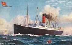 RMS Carpatha, in a 1910 Tuck postcard. Rms Titanic, Titanic Ship, Rms Carpathia, Cunard Ships, Liverpool, Carnival Corporation, Sea Texture, Ship Paintings, Nautical Art