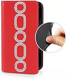 espee Étui pour–-- Luxe Samsung Galaxy s6edge–-- Coque à rabat Rouge avec cristaux Swarovski® Chaîne Bumper en silicone et fermeture aimantée cadeau et stylet