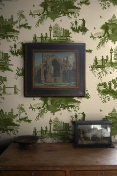 London Toile Wallcovering wallpaper from Timorous Beasties in Greens on Cream Chinoiserie, Woodlands Cottage, Toile Wallpaper, Timorous Beasties, Victorian Kitchen, Textiles, Wall Treatments, Photo Backgrounds, Fall Decor
