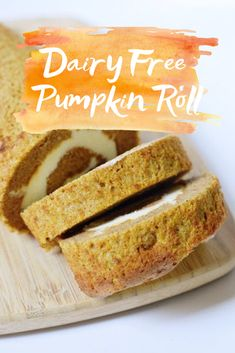 Dairy Free Pumpkin Roll - a delicious fall favorite that everyone can enjoy and NO ONE will know is gluten and dairy free! Dairy Free Pumpkin Roll - a delicious fall favorite that everyone can enjoy and NO ONE will know is gluten and dairy free! Dairy Free Thanksgiving Recipes, Thanksgiving Desserts, Dairy Free Desserts, Dairy Free Pumpkin Pie, Pumpkin Recipes, Sem Gluten Sem Lactose, Dairy Free Diet, Pumpkin Dessert, Libby's Pumpkin