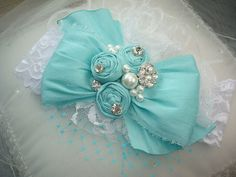 New Tiffany Blue and White Dupioni Silk Bow Baby by lepetitejardin