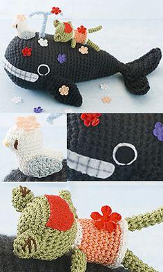 Free pattern  Ravelry: 27-3K Whale, Frog & Seagull Amigurumi pattern by Pierrot (Gosyo Co., Ltd)