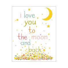 Arte de pared infantiles / Nursery Decor te amo a la luna y el cartel detrás de la impresión