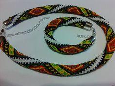 Geometric Ukrainian rhombus jewelry set ( necklace and bracelet )  ,crochet , gift, ethnic pattern ,stripes, rhombus ,jewelry ,necklace by KaznovskaOlhaDesign on Etsy