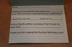 THE MUDDY PRINCESS: birthday Thank you notes
