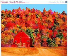 Starry Red Barn16x20 matted giclee print by Larry Carlson
