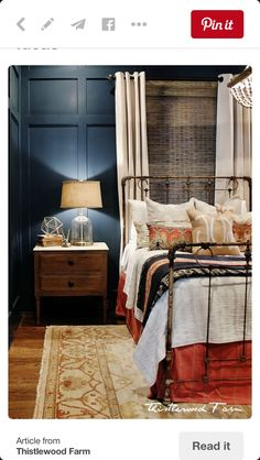 So pretty. Wall color, iron bed, bed curtains, bedding