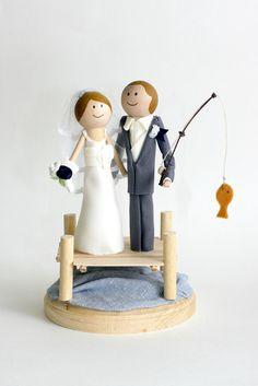Couple Wedding Cake Topper Fishin