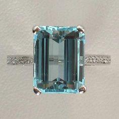 Emerald Cut Aquamarine with Thin Diamond pave Band ring