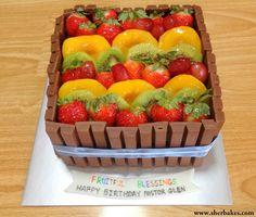 Fruits and Kit Kat Cake