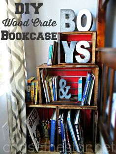 DIY Wood Crate BookCase via Chase the Star Perfect for Back to School!