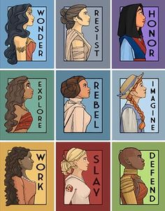 Wonder Woman Rey from Star Wars Mulan Moana Princess Leia Anne of Green Gables Angelica Schulyer from the musical Hamilton Buffy the Vampire Slayer Okoye from Black Panther Frases Disney, Disney Memes, Disney Quotes, Funny Disney, Disney Kunst, Disney Art, Disney Songs, Disney And Dreamworks, Disney Pixar