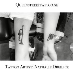 Today's work on Rebecka! A #trumpet and a #bee this are memories of her grandparents ❤️  <-- Tattoo Artist Nathalie Dreilick @ #Queenstreettattoo studio #helsingborg #sweden www.queenstreettattoo.se  besökstid för att boka/konsultation/visa din tattoo är endast tisdagar & torsdagar kl18.00-19.00  går även att boka via mail  visiting hours Tuesday & Thursday between   kl18.00-19.00. #tattoo #tattoogirl #tattooartist #inkedplus #nathaliedreilick #tattoostars #inkedmag