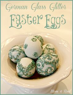 Decorating Easter Eggs With German Glass Glitter at www.mom4real.com