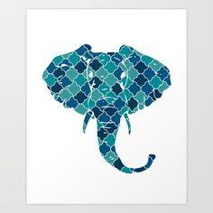 ELEPHANT SILHOUETTE HEAD WITH PATTERN - A beautiful design of a Head of an Elephant. A majestic animal that is not only big and strong, but also has a great memory, can paint with its trunk and is so sensitive that it can massage you with its big feet. Read More  graphic-design digital illustration vector pattern elephant trunk pattern blue safari bedroom children-room head beautiful illustration