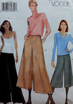 Culottes Sewing Pattern UNCUT  Vogue 7178 Sizes by latenightcoffee