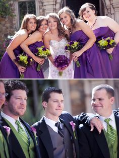 Purple and green wedding party attire. I like the groomsmen more. since purple isn't part of the wedding. Black Bridesmaids, Purple Bridesmaid Dresses, Wedding Bridesmaids, Wedding Attire, Wedding Dresses, Pink Dresses, Wedding Groom, Lime Green Weddings, Purple And Green Wedding