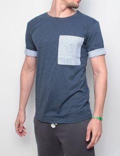 Byg Bang t-shirt con taschino frontale e manica risvoltabile con tessuto camicia blue denim-dots