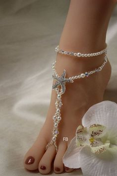 Beach Wedding Barefoot Sandals Crystal Barefoot by FairyBones