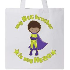 Inktastic My Big Brother Is My Hero Tote Bag Sibling Super Powers Little Manga Anime Superman Superboy Avenger Captain Dark Hair Purple Cape Green Star Reusable Grocery Book, Women's, White