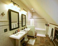 Traditional Bathroom Attic Bathroom Design, Pictures, Remodel, Decor and Ideas -. - Home Decor For US Attic Apartment, Attic Master Suite, Attic Master Bedroom, Master Bedroom Remodel, Small Attic Bathroom, Upstairs Bathrooms, Small Bedroom Remodel, Bathroom Design, Bathroom Farmhouse Style
