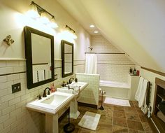 attic bathroom, nice tile and wall to toilet