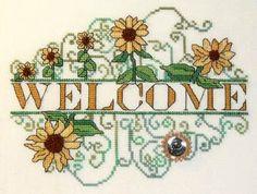 Sunflower Welcome -  free cross stitch pattern