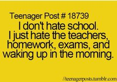 Yea how do u hate a building? It's the stuff that's part of school and learning there that's crap ;-;