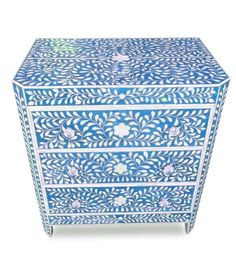 Indian Artisan Blue Mother of Pearl Bone Inlay Mosaic Bedside Chest Historically Created For Palaces of India Inspiring Interior Design Ideas From InStyle-Decor.com Beverly Hills Enjoy & Happy Pinning