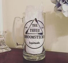 "Harry Potter ""Three Broomsticks"" Mug!  (Beer Glass, Butterbeer, Vinyl Decor, Hogwarts, Hogsmeade, Hagrid, Harry Potter Decor)"