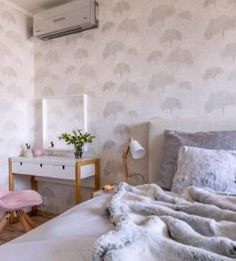 Ginko on wall paper. Concept and realisation - family house in Prague. Decor, Wall, Bed, Furniture, Family House, Bedroom, Home Decor, White, Urban Living