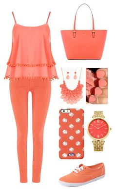"""""""Peachy pink"""" by achartres-1 on Polyvore featuring interior, interiors, interior design, home, home decor, interior decorating, 7 For All Mankind, WearAll, Keds and Kate Spade"""