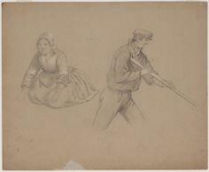 1850-1857 kunstenaar: Bing, Valentijn kunstenaar: Braet von Überfeldt, Jan potloodtekening van man en vrouw. De linker geknielde vrouwenfiguur kan qua muts uit Zuid-Holland zijn. De mannenfiguur is niet geografisch in te delen. #ZuidHolland