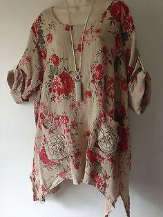 Lagenlook-Hessian-Linen-Beige-Floral-Print-Tunic-top-Plus-size-16-20