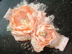 Vintage Inspired Peach Baby Girl Flower Headband by lepetitejardin